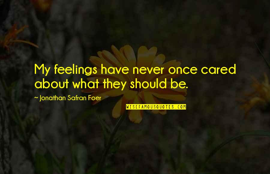 You Never Cared Quotes By Jonathan Safran Foer: My feelings have never once cared about what