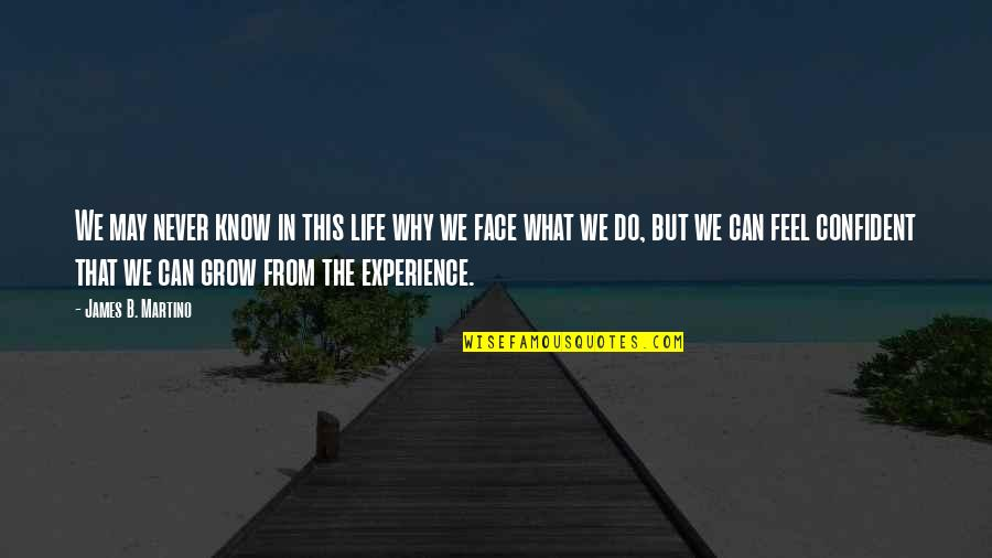 You Never Grow Up Quotes By James B. Martino: We may never know in this life why
