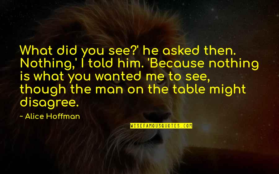 You Nothing To Me Quotes By Alice Hoffman: What did you see?' he asked then. Nothing,'