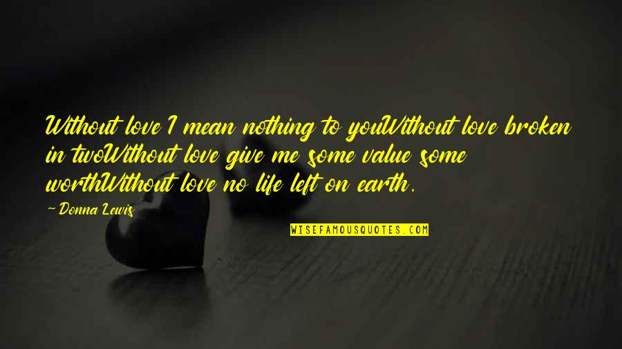 You Nothing To Me Quotes By Donna Lewis: Without love I mean nothing to youWithout love