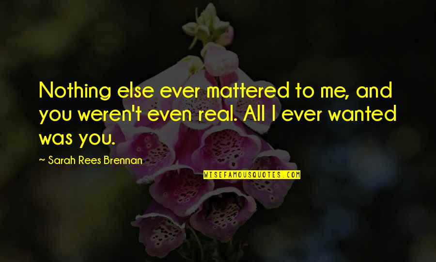You Nothing To Me Quotes By Sarah Rees Brennan: Nothing else ever mattered to me, and you
