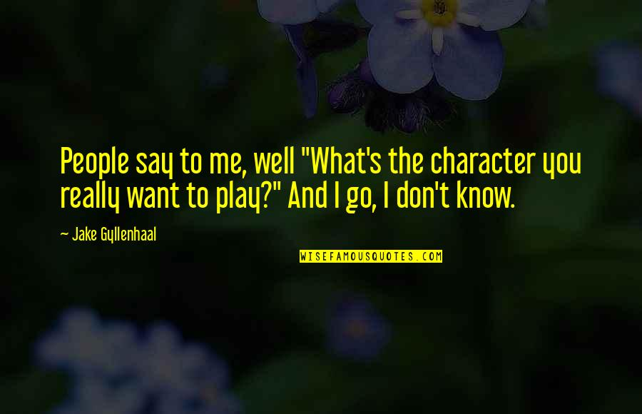 "You Play Me I Play You Quotes By Jake Gyllenhaal: People say to me, well ""What's the character"