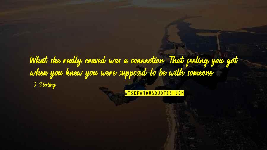 You Really Love Someone Quotes By J. Sterling: What she really craved was a connection. That