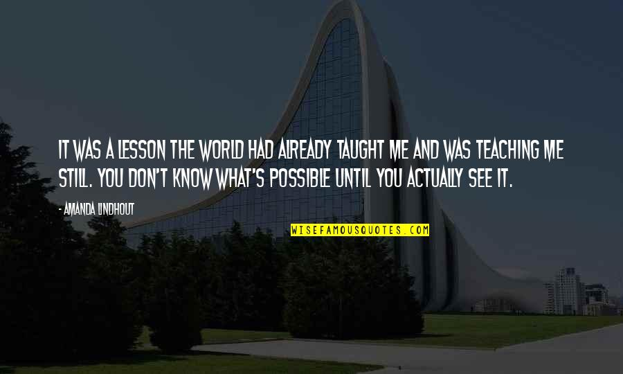 You Taught Me A Lesson Quotes By Amanda Lindhout: It was a lesson the world had already