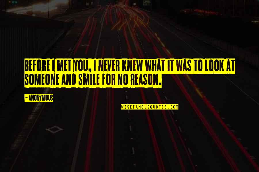 You The Reason For My Smile Quotes By Anonymous: Before I met you, I never knew what