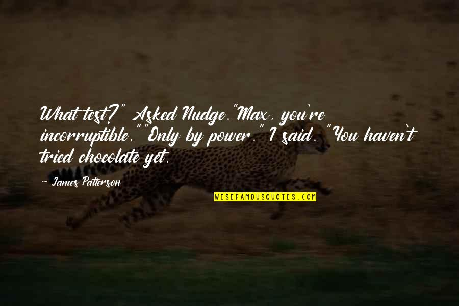 """You Tried Quotes By James Patterson: What test?"""" Asked Nudge.""""Max, you're incorruptible.""""""""Only by power."""""""