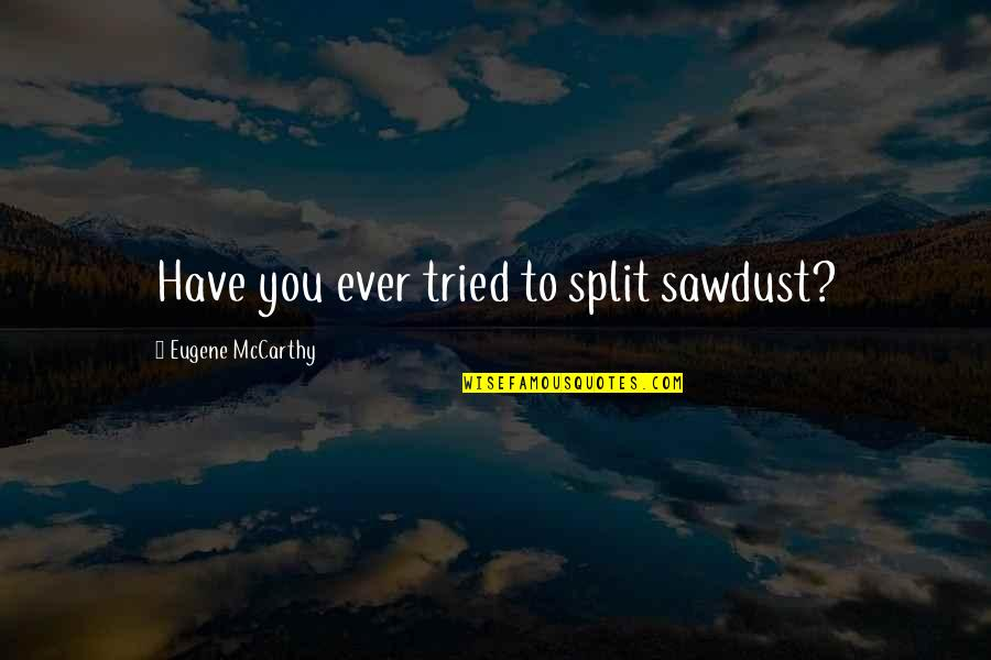 You Tried Your Best Quotes By Eugene McCarthy: Have you ever tried to split sawdust?