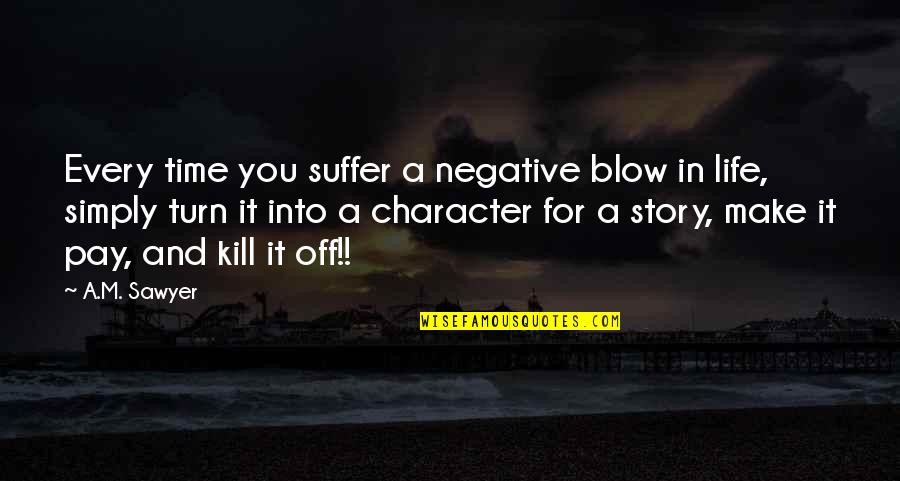 You'll Pay Quotes By A.M. Sawyer: Every time you suffer a negative blow in