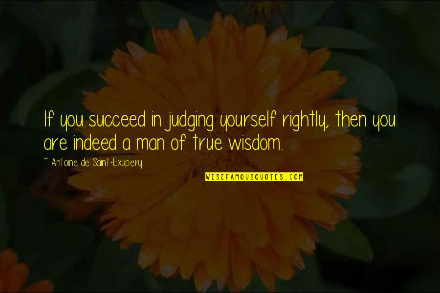 You'll Succeed Quotes By Antoine De Saint-Exupery: If you succeed in judging yourself rightly, then