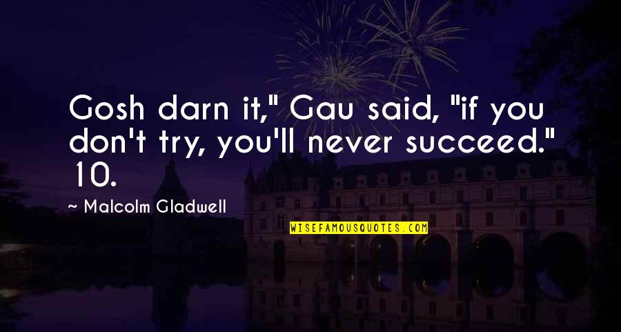 """You'll Succeed Quotes By Malcolm Gladwell: Gosh darn it,"""" Gau said, """"if you don't"""