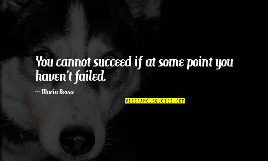 You'll Succeed Quotes By Maria Ressa: You cannot succeed if at some point you