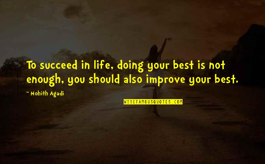You'll Succeed Quotes By Mohith Agadi: To succeed in life, doing your best is