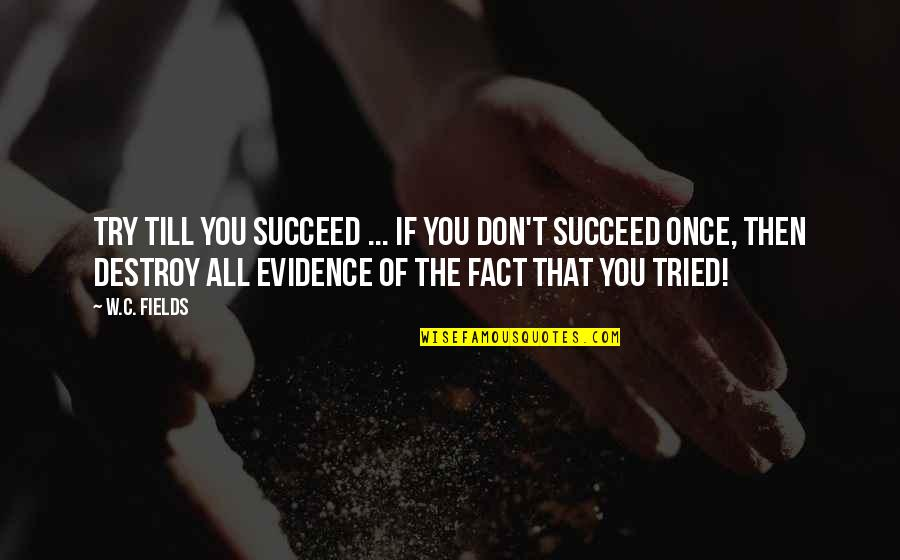 You'll Succeed Quotes By W.C. Fields: Try till you succeed ... if you don't