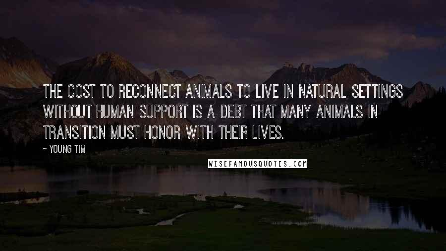 Young Tim quotes: The cost to reconnect animals to live in natural settings without human support is a debt that many animals in transition must honor with their lives.