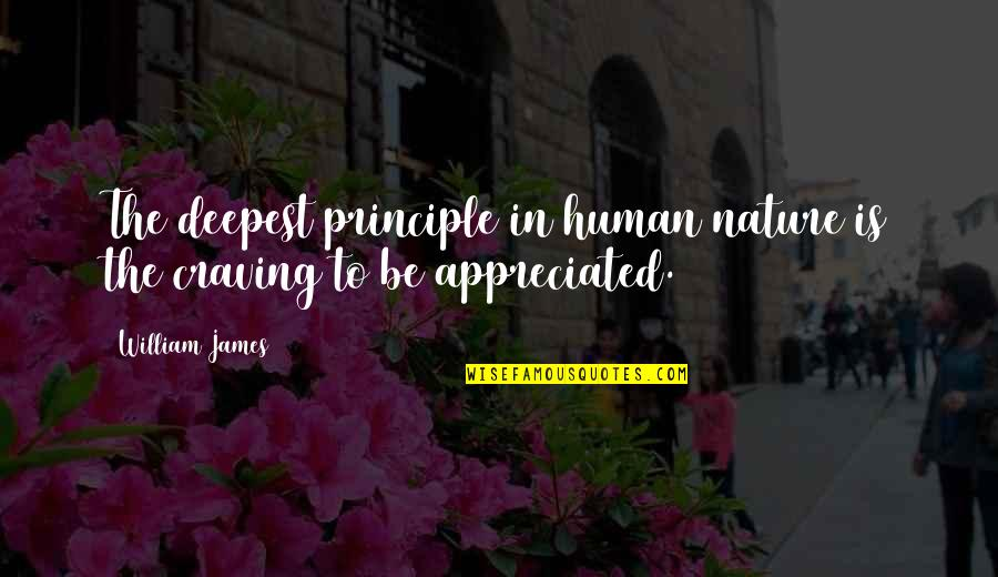 Your Appreciated Quotes By William James: The deepest principle in human nature is the