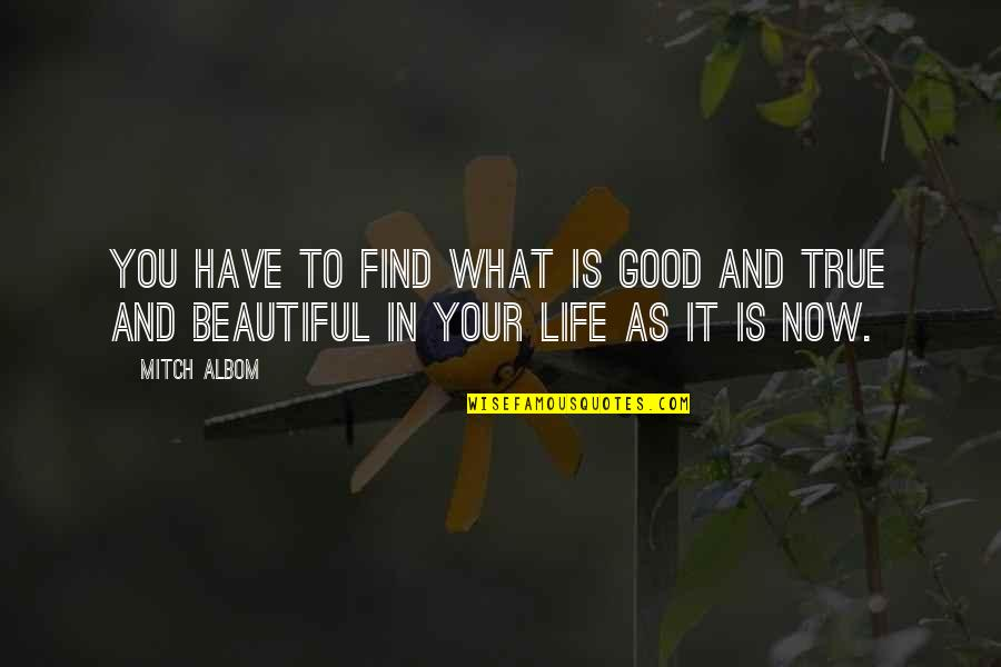 Your Beautiful Life Quotes By Mitch Albom: You have to find what is good and
