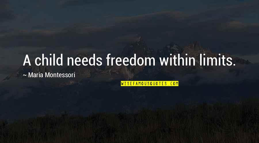 Your Child Needs You Quotes By Maria Montessori: A child needs freedom within limits.