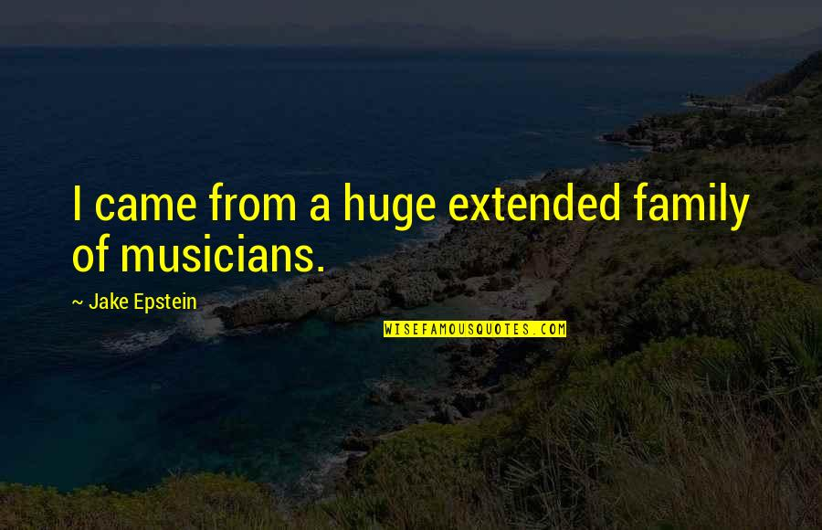 Your Extended Family Quotes By Jake Epstein: I came from a huge extended family of
