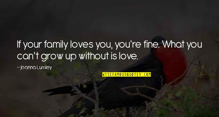 Your Family Loves You Quotes By Joanna Lumley: If your family loves you, you're fine. What