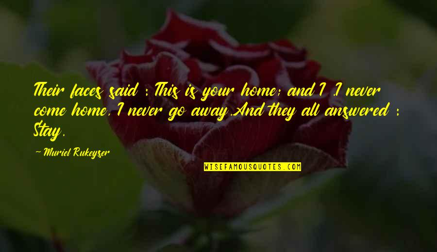 Your Home Quotes By Muriel Rukeyser: Their faces said : This is your home;