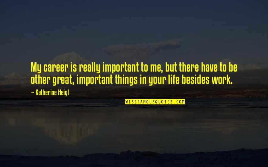Your Important In My Life Quotes By Katherine Heigl: My career is really important to me, but