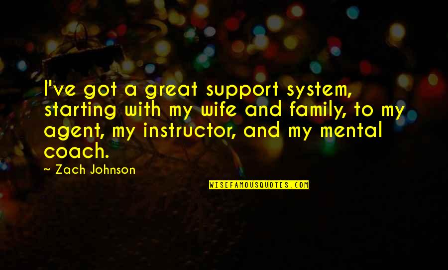 Your Instructor Quotes By Zach Johnson: I've got a great support system, starting with
