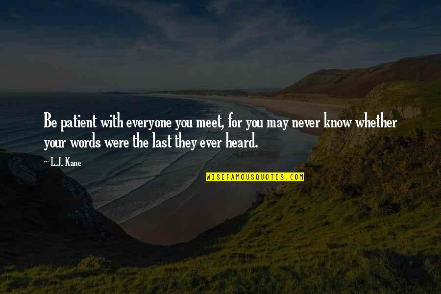 Your Last Words Quotes By L.J. Kane: Be patient with everyone you meet, for you