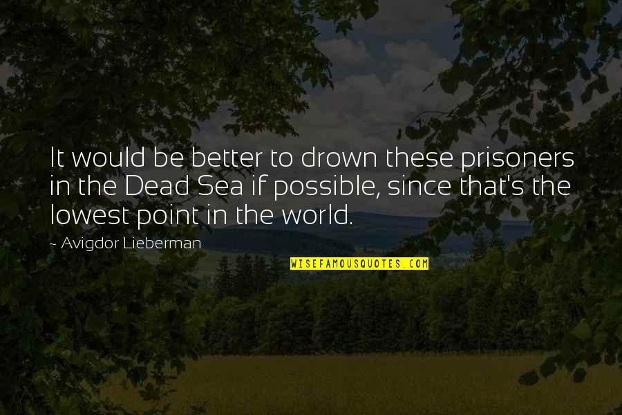 Your Lowest Point Quotes By Avigdor Lieberman: It would be better to drown these prisoners