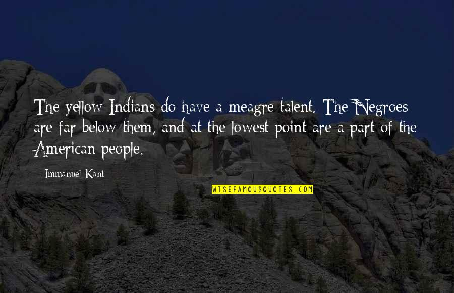 Your Lowest Point Quotes By Immanuel Kant: The yellow Indians do have a meagre talent.