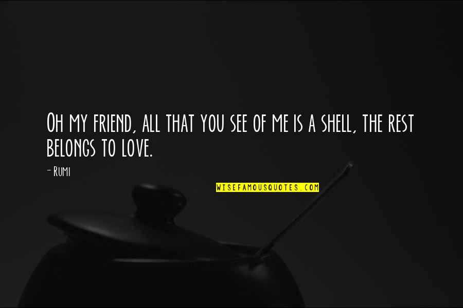Your My Best Friend And Love Quotes By Rumi: Oh my friend, all that you see of