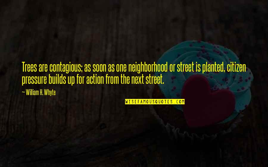 Your Neighborhood Quotes By William H. Whyte: Trees are contagious; as soon as one neighborhood
