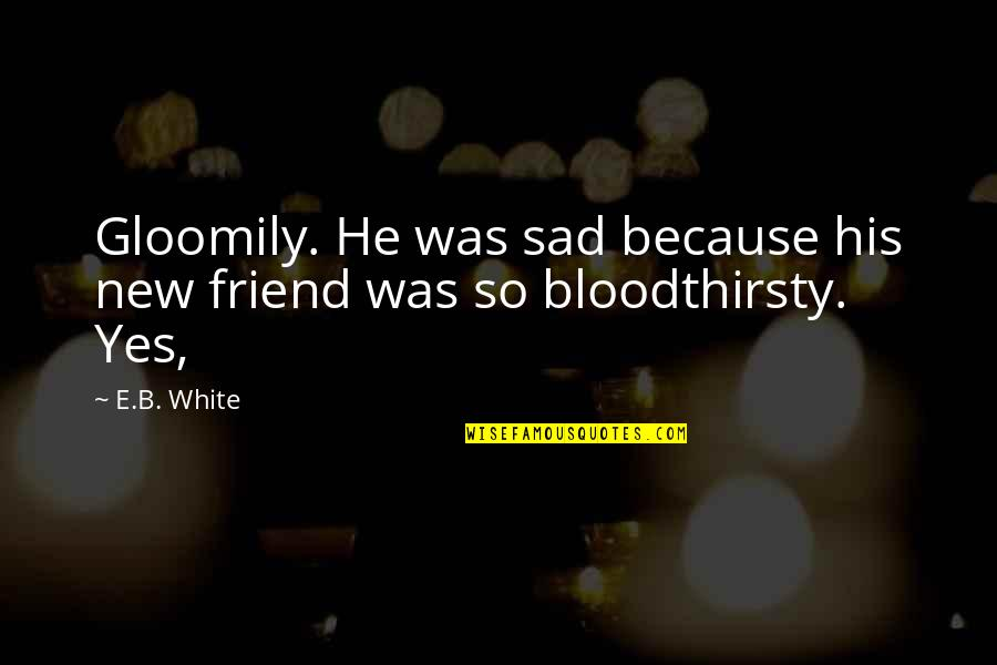 Your New Friend Quotes By E.B. White: Gloomily. He was sad because his new friend