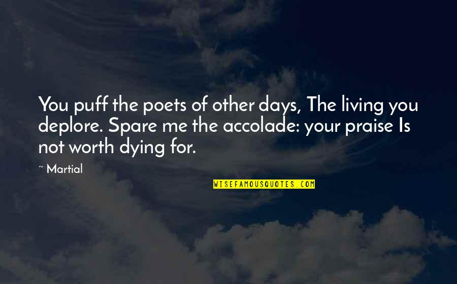 Your Not Worth The Quotes By Martial: You puff the poets of other days, The