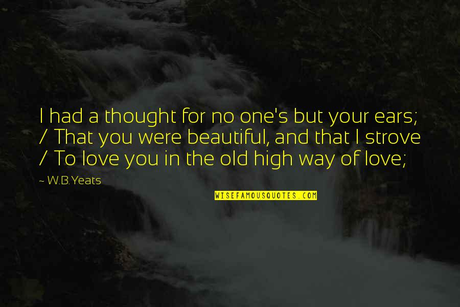 Your Old Love Quotes By W.B.Yeats: I had a thought for no one's but