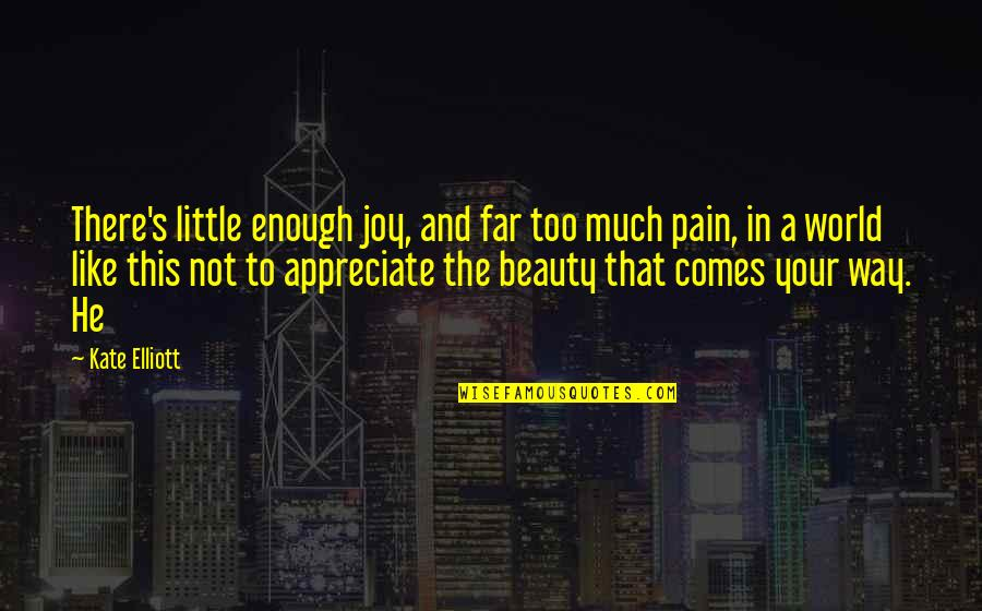 Your Pain Quotes By Kate Elliott: There's little enough joy, and far too much