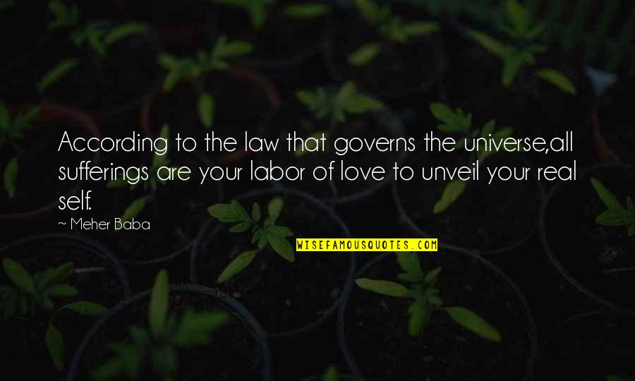 Your Pain Quotes By Meher Baba: According to the law that governs the universe,all