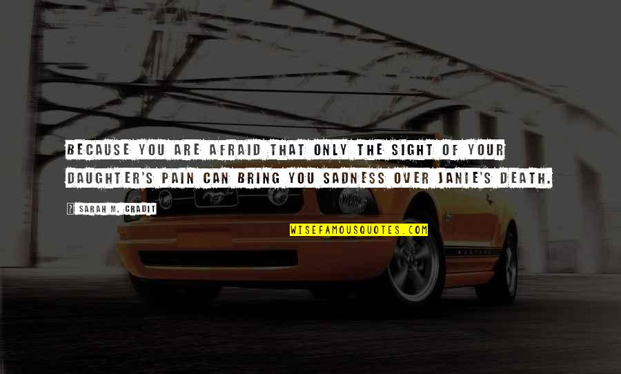 Your Pain Quotes By Sarah M. Cradit: Because you are afraid that only the sight