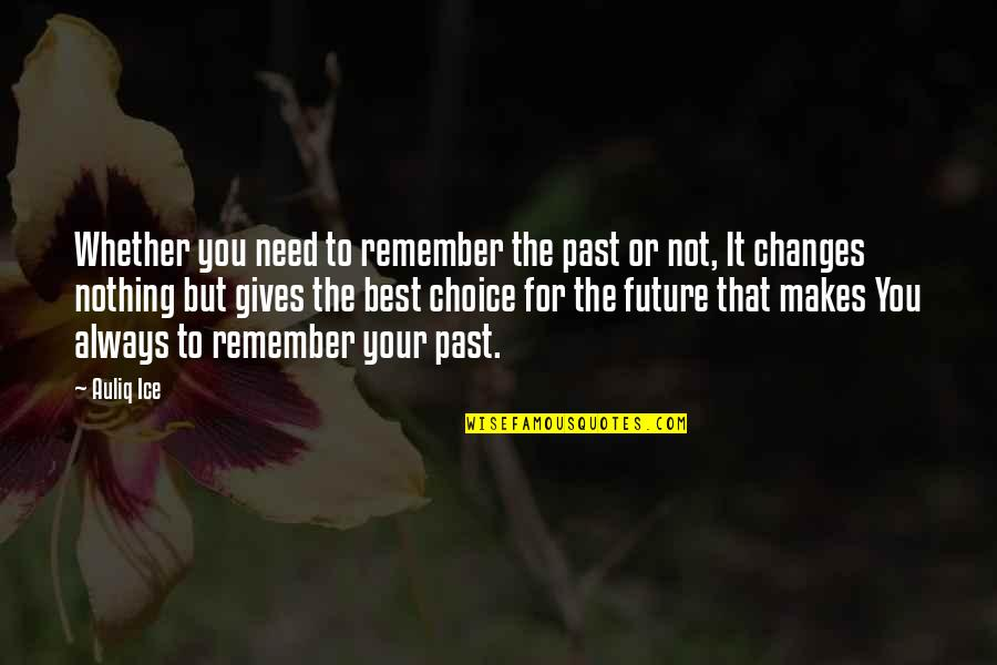 Your Past Life Quotes By Auliq Ice: Whether you need to remember the past or