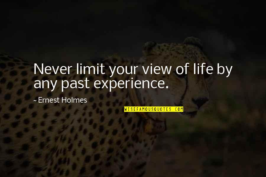 Your Past Life Quotes By Ernest Holmes: Never limit your view of life by any