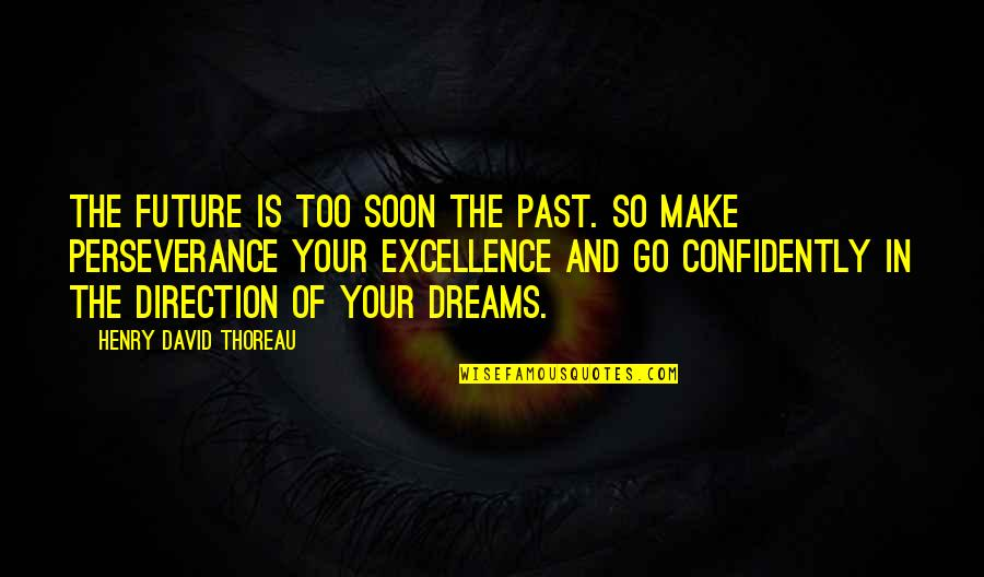 Your Past Life Quotes By Henry David Thoreau: The future is too soon the past. So