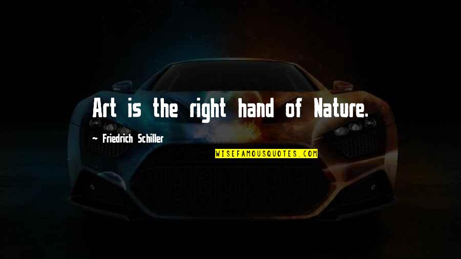 Your Right Hand Quotes By Friedrich Schiller: Art is the right hand of Nature.
