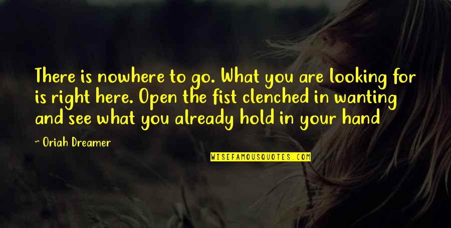 Your Right Hand Quotes By Oriah Dreamer: There is nowhere to go. What you are