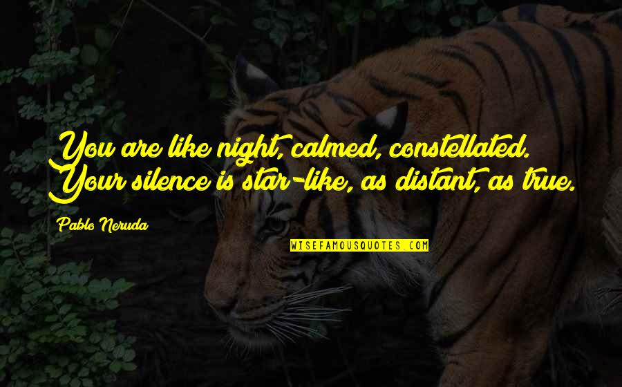 Your Silence Quotes By Pablo Neruda: You are like night, calmed, constellated. Your silence