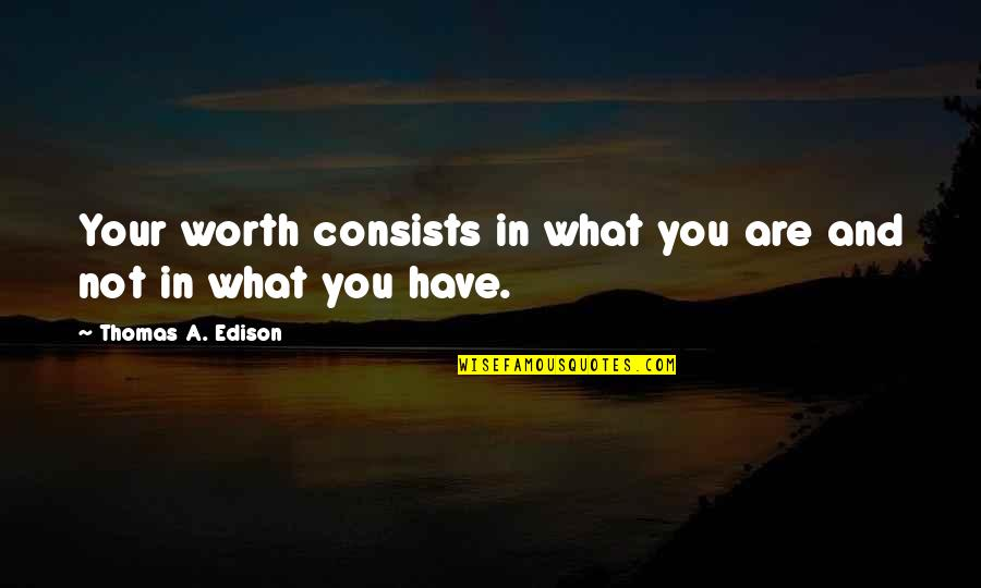 Your So Not Worth It Quotes By Thomas A. Edison: Your worth consists in what you are and