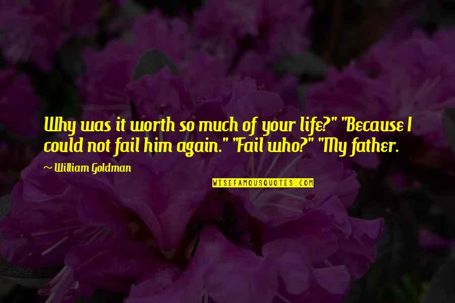 Your So Not Worth It Quotes By William Goldman: Why was it worth so much of your