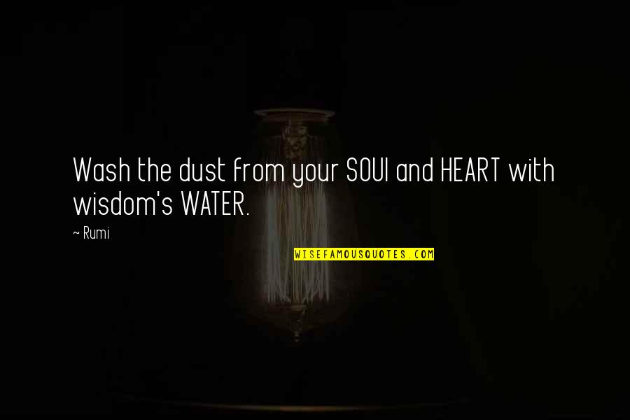 Your Soul Quotes By Rumi: Wash the dust from your SOUl and HEART