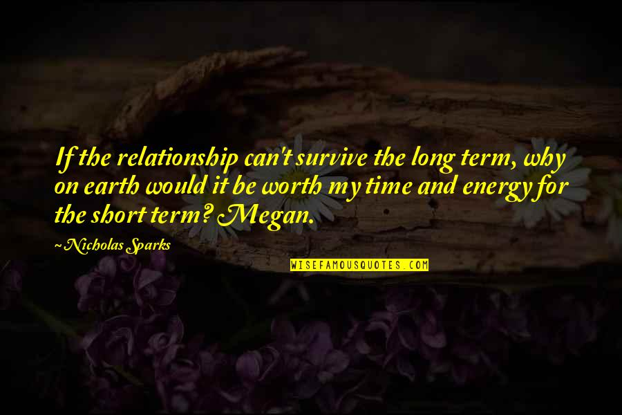 Your Time On Earth Quotes By Nicholas Sparks: If the relationship can't survive the long term,