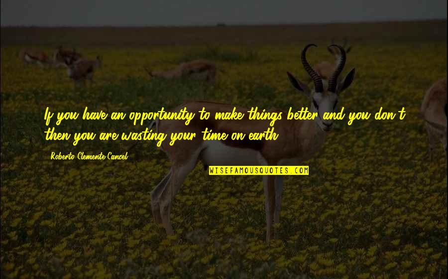 Your Time On Earth Quotes By Roberto Clemente Cancel: If you have an opportunity to make things