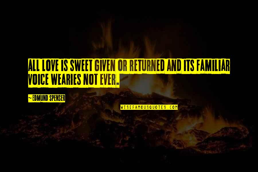 Your Voice So Sweet Quotes By Edmund Spenser: All love is sweet Given or returned And