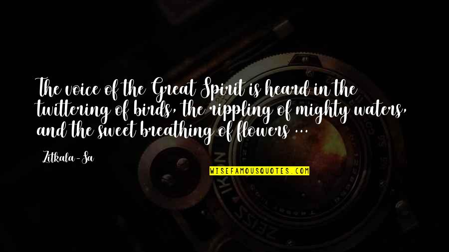 Your Voice So Sweet Quotes By Zitkala-Sa: The voice of the Great Spirit is heard